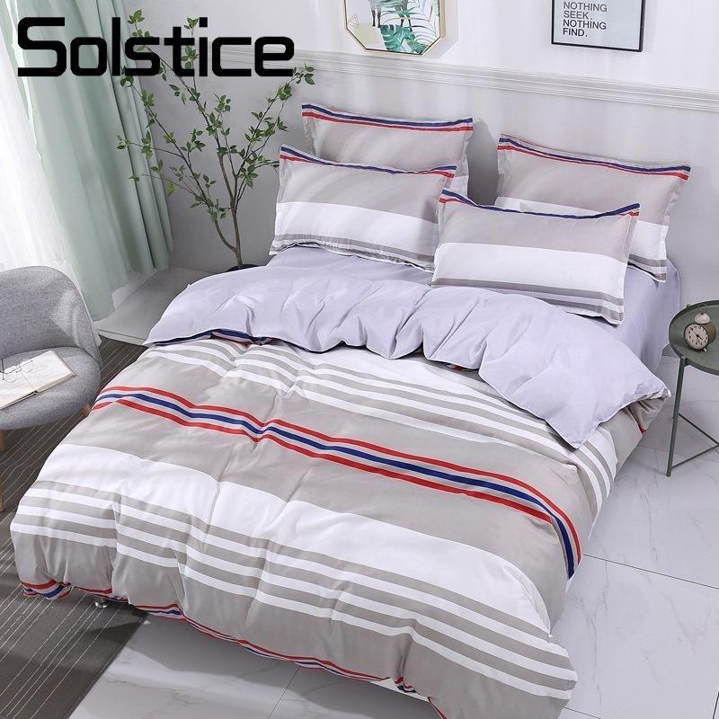 Solstice Home Textile Twin Queen King Bettwäsche Set Einfacher Streifen Grau Erwachsener Junge Teen Mädchen Bett Bettwäsche Bettbezug Kissenbezugblatt