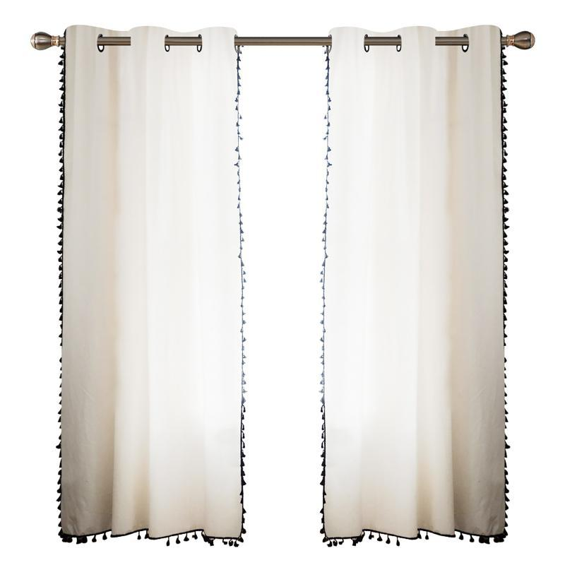 2 pcs semi-pura cortina quarto elegante janela decorativa linho simples aparência sala de estar estilo japonês casa com painel de borla