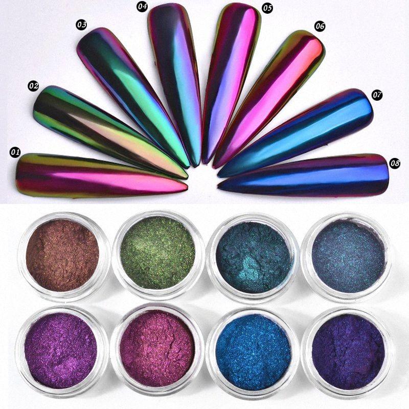 1 Box 0.3g Chamäleon Spiegel Nagel Gliers Powder DIY Nagel-Chrom-Pigment-Staub-Maniküre-Nagel-Kunst-Dekoration Werkzeuge R3rR #