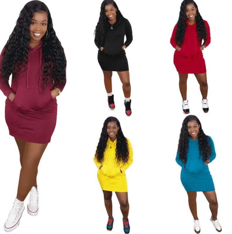 Frauen Kleid Mode Massivfarbe Mit Kapuze Pullover Kleider Langarm über Knierock Club Damen Plus Größe Casual Clothing DHL