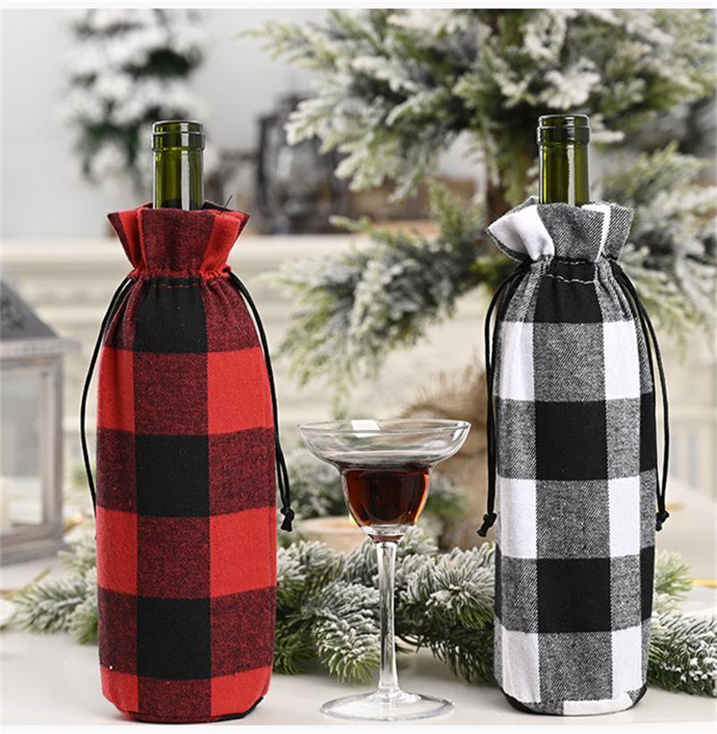 Partido Tampa Black Christmas Red Grids cordão Winebottle Capa Moda Balck Vinho Branco Grids Garrafa Decoração Suprimentos E102104