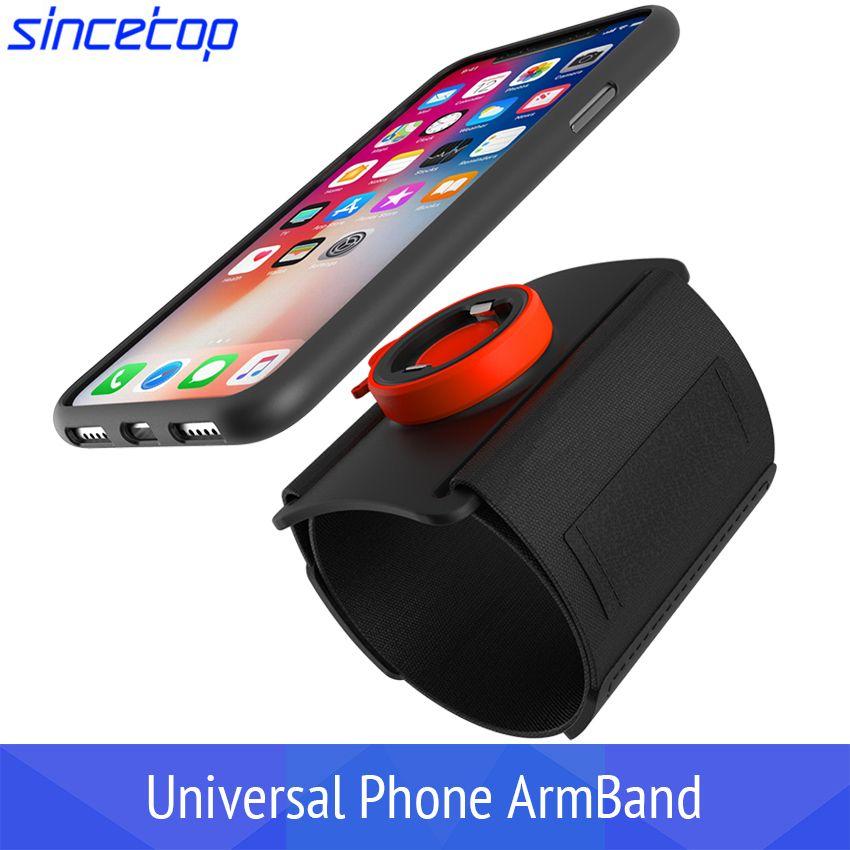 Universal Sports Armband iPhone 11 × 8 7 Samsung Rotatable Wright Band Arm Band مع حامل مفتاح للهاتف 4-6 بوصة