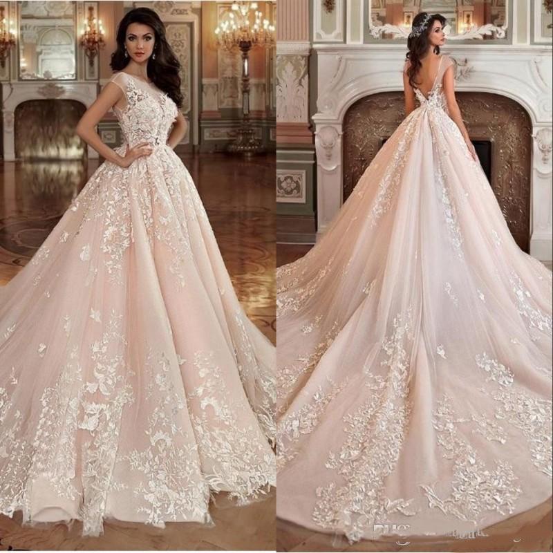 2021 Vintage Allık Pembe Gelinlikler Gelinlik Balo Sheer Boyun 3D Çiçekler V Geri Aplike Dantel Evlilik Elbise Artı Boyutu AC121