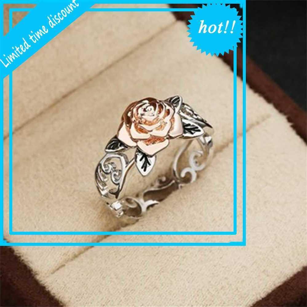 Sanjie 14k Rose Gold Blume 925 Silber überzogener Verlobungsring