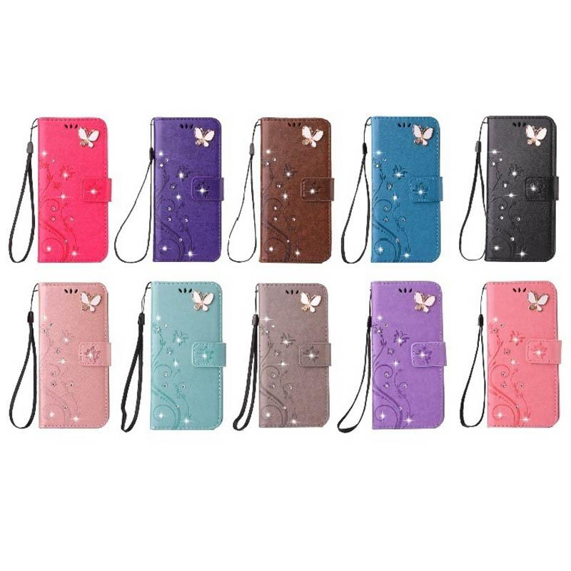 3D-Schmetterling Bling Diamant-Leder-Mappen-Kasten für Iphone 12 MINI 12 Pro MAX 2020 5.4 6.1 6.7 11 XR XS MAX 8 7 6 SE-Blumen-Halter-Flip-Cover