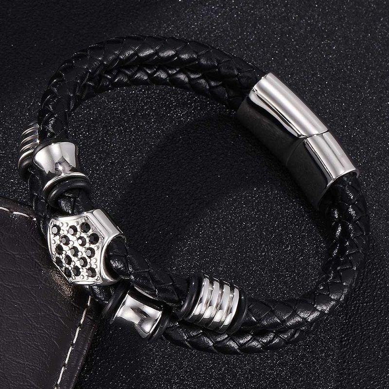Neuer Trend Edelstahl Perlen Männer geflochtene Lederarmband Double Layer Magnetic Buckle Male Wrist Band Schmuck Geschenke ST0336