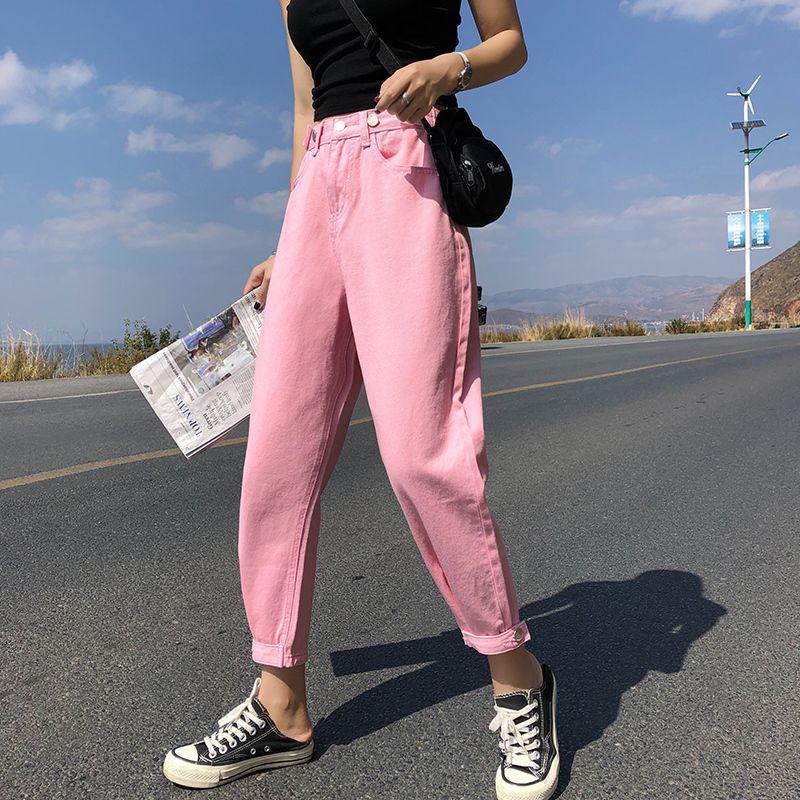GUUZYUVIZ Casual Jeans mujer de la alta cintura suelta Denim Harem Mujer Plus Tamaño elegantes jeans para mujeres Combinaison Pantalon Femme C1009