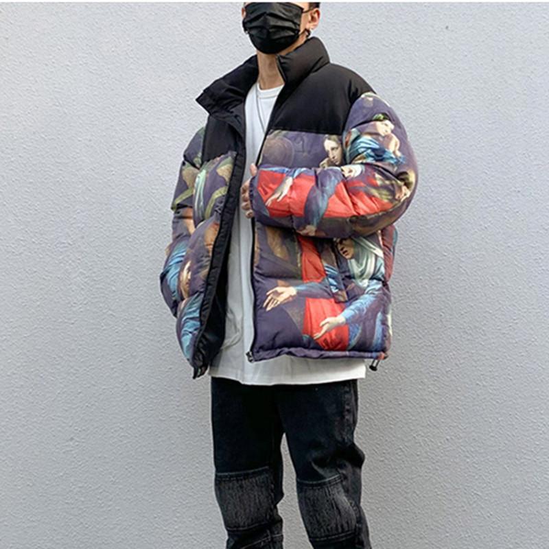 Schwarz Farbe Öl gemalt Wintermantel Männer und Frauen stehen High Street-Farben-Block-beiläufige Baumwollsteppjacke lose Parkas