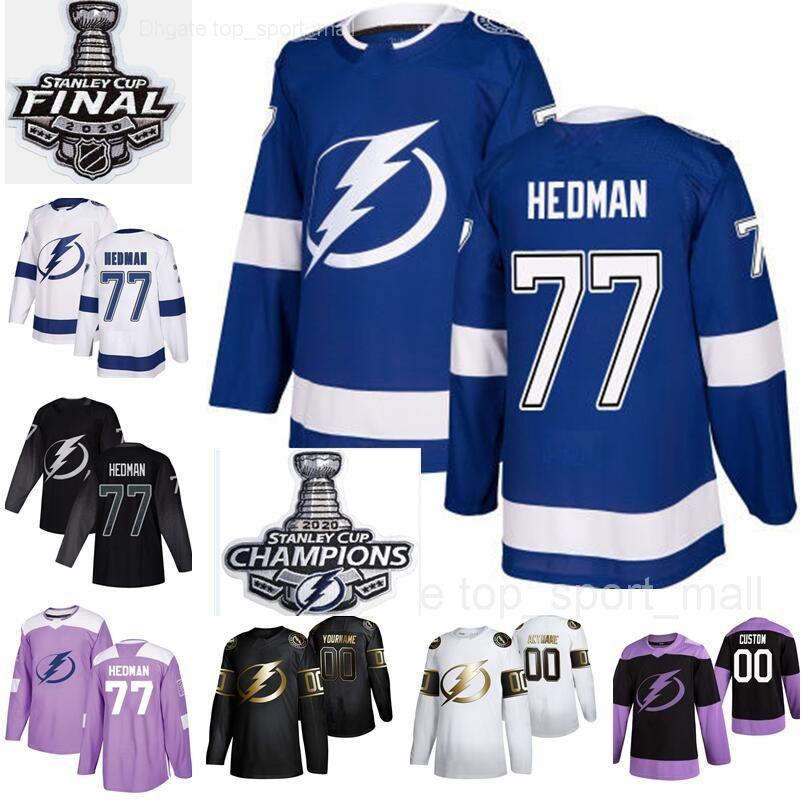 Homens Mulher Kids Campeões 77 Victor Hedman Jersey 2020 Stanley Cup Finals Tampa Blue Team Bay Lightning Hockey Preto Branco Mulher Jovem Man