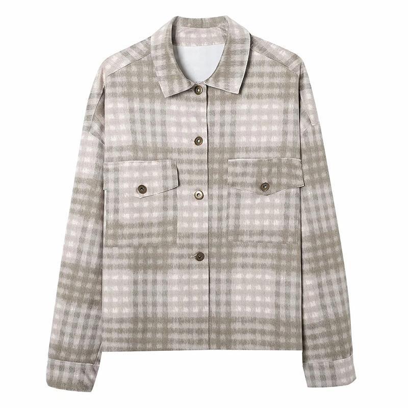 Femmes Nouveau Poche poitrine simple Jacket Plaid Jacket Femme Retro All-Match Revet Sleeve à manches longues