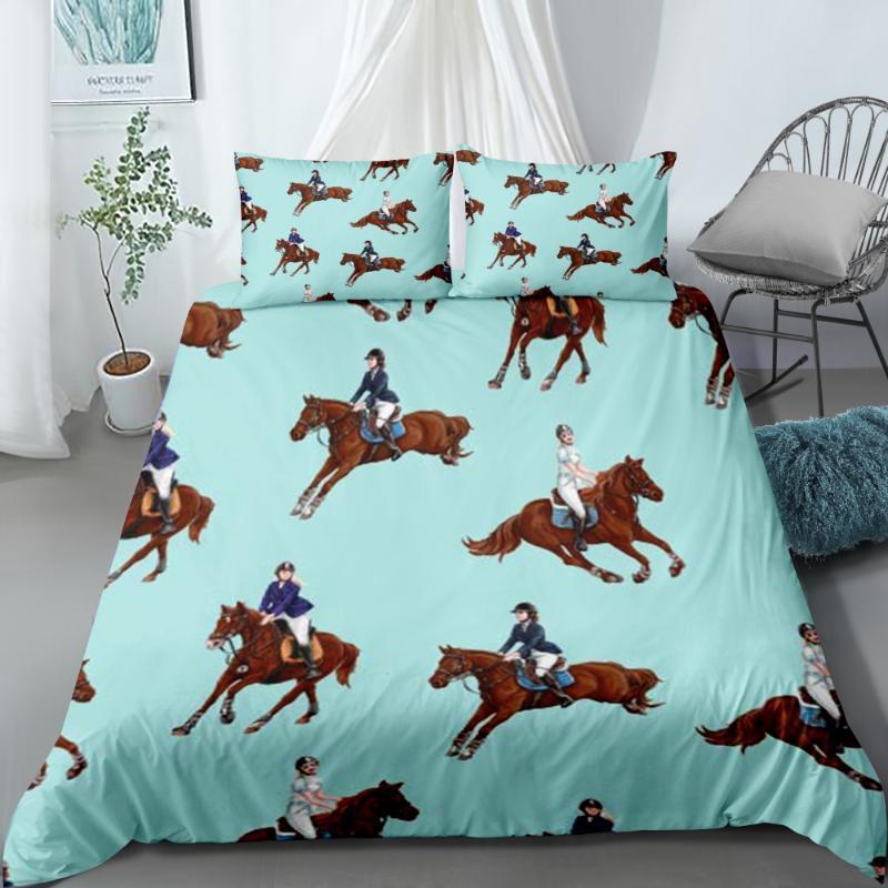 تشغيل الحصان سرير فاخر الكتان مجموعة المخدة 2/3 قطعة ستوكات غطاء لحاف مجموعة الحيوانات واحدة مزدوجة الفراش نوم ديكور