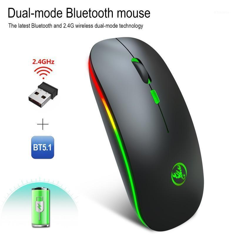 T18 Dual Mode Modalità ricaricabile Mouse wireless 2.4G + Bluetooth 5.1 Mouse Silent Light Emitting Office Game Mute Mice1