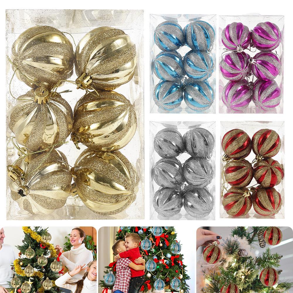 12Pcs Christmas Ornaments Balls 6cm Christmas Tree Balls Xmas Decorative Balls for Home Happy New Year Gift Christmas Ball Decor