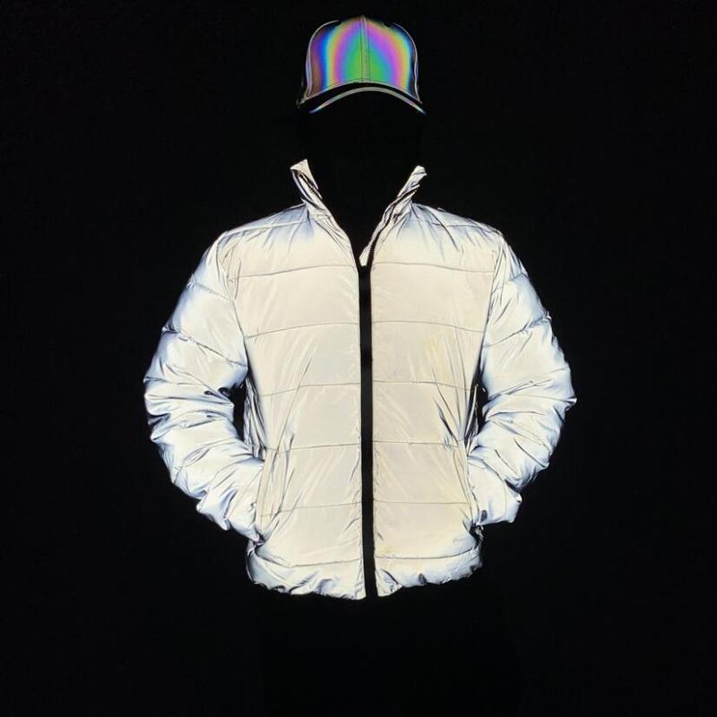 드롭 배송 2020 겨울 파카 남성 반사 자켓 솜 패딩 하라주쿠 거리의 힙합 여성의 밤은 빛 따뜻한 코트를 반영