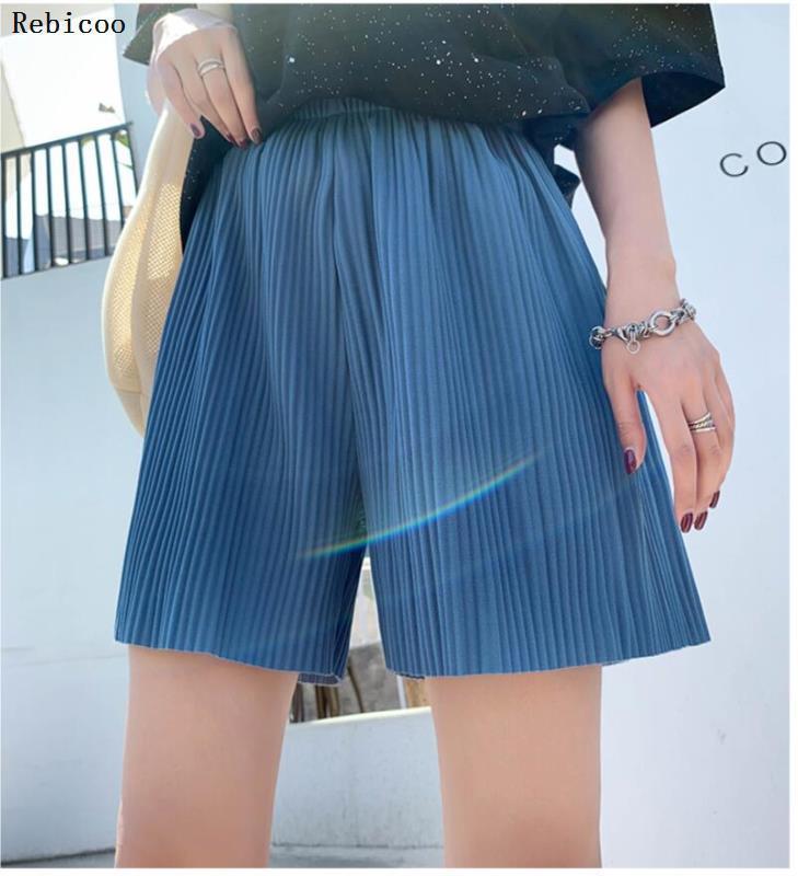 Allentato di estate vita donne dei bicchierini alta gamba larga Shorts cascante casual piega di chiffon Lungewear Hotpants