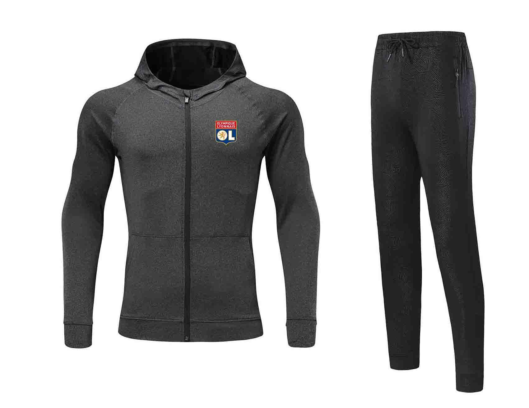 20/21 Olympique Lyonnais Giacca tuta sportiva dei vestiti del calcio Jersey Pant adulti Calcio inverno Set uomini giacca calda