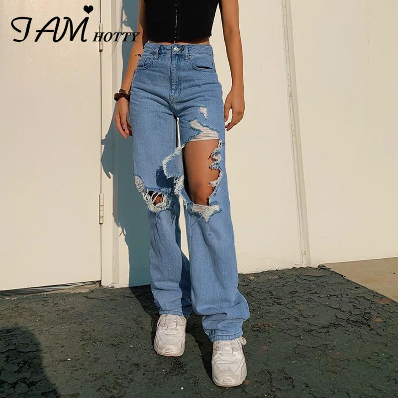 Yırtık düz kadın kot pantolon baggy vintage yüksek bel erkek arkadaşı anne y2k kot sıkıntılı streetwear kadın iamhotty 201029