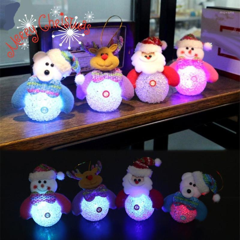 Weihnachten glühende Puppe Farbe Licht Flash Schneemann Bär Kristall Schneemann EVA Lichter Weihnachtsdekorationen1