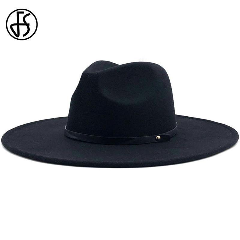 Широкие шляпы Breim FS зима большая шерсть Fedora Hat мужчины котелок с поясом женщин трилби войлочная крышка крестного бога панама шапки Чапеу Феминино