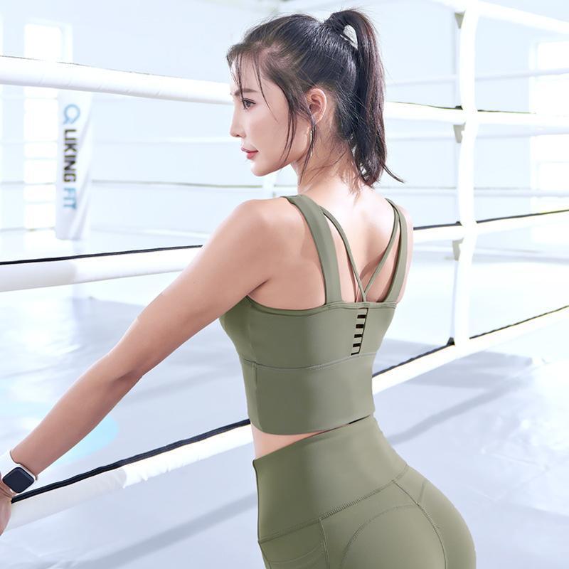 Женщины Йога Бюстгальтеры выдалбливают противоударный Бюстгальтеры Padded Gym Workout Бег Crop Tops Высокая Упругие Спорт Brassiers красоты Назад Жилеты