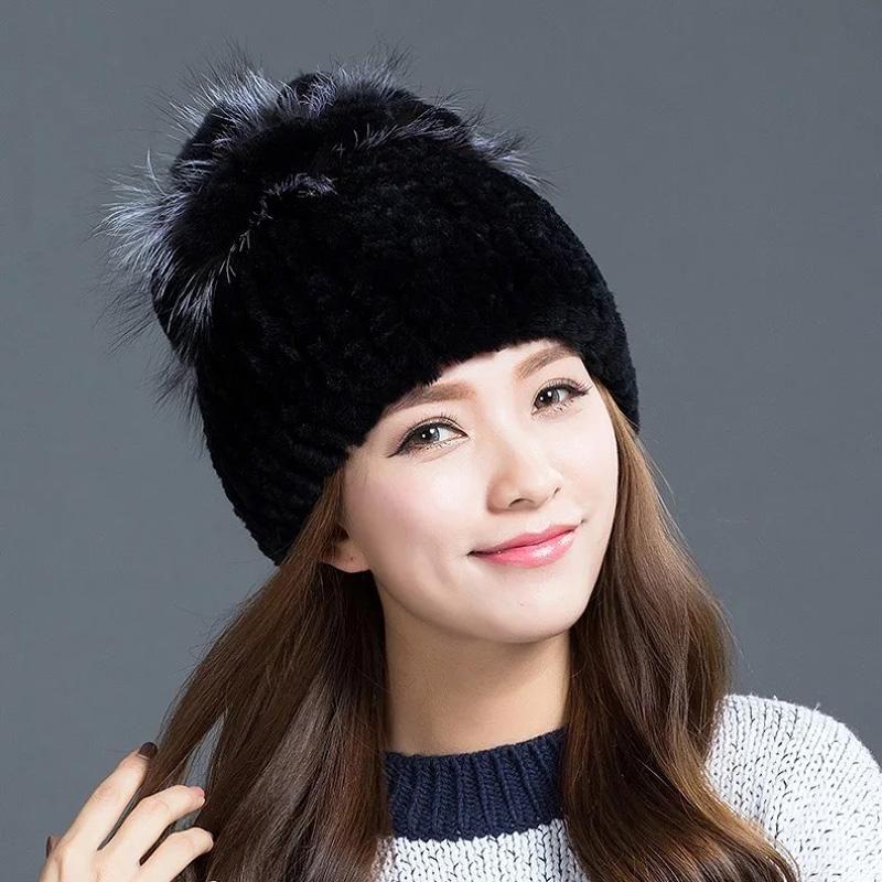 Mode fille fourrure chapeau dame hiver réel naturel chapeau de fourrure de femmes de haute rex qualité chaude de TU154-028 livraison gratuite