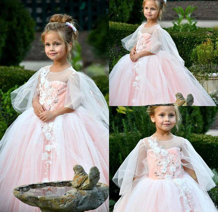Neue Prinzessin Rosa Blumen Mädchen Kleider Tochter Kleinkind Hübsche Kinder Pageant Erstkommunion Kleid Juwel Hals Tüll Lange Prom Kleider