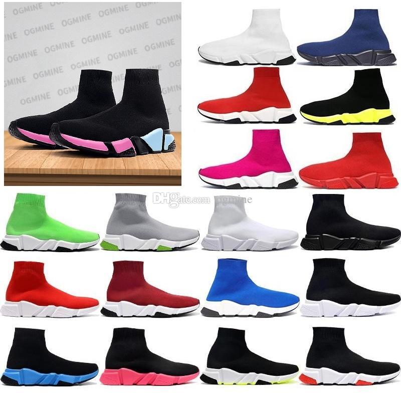 [В наличии] 2021 Designer Man Speed Trainer Sock Boots Boots Boots Мужская Женская Повседневная Обувь Бегунов Бегун Кроссовки 36-45 Обоинка