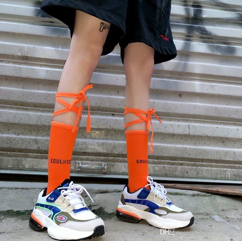 Nuovo Autunno di alta qualità Sneakers Moda Lolita Croce Strap calze di cotone Lunghezza calze sportive Womens Trend esterno funzionare Calzini