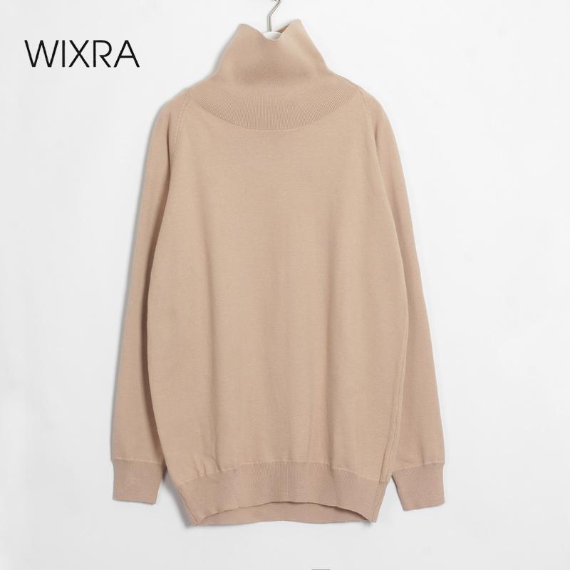 Casual Wixra cuello alto suéter de gran tamaño mujeres otoño invierno sólido de punto suéter del estilo coreano de manga larga Mujer punto las tapas