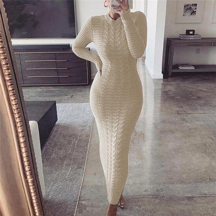 Abiti a maglia a maglia solida Designer Designer Manica lunga O Collo Slim Abiti lunghi Autunno Moda Sexy Donne Maglione Bodycon Abbigliamento
