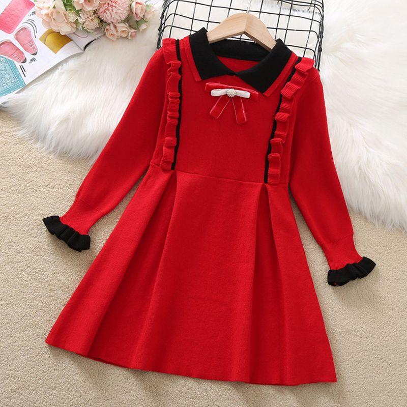 Vestido de manga larga de lana de tejido de niña Primavera y otoño New Lady Girl Baby Lleva Lapel Sweat Sweater Bow Pie Vestido W1227