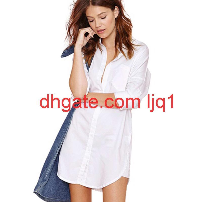 Avrupa ve Amerikan Seksi Bayanlar Bluz Beyaz Kadın Bluzlar Casual Kadınlar Desiger Uzun Bluz Boyutu S-2XL