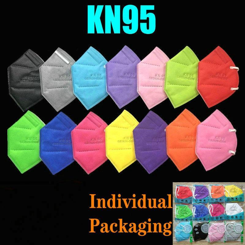 15 ألوان KN95 قناع مصنع 95٪ تصفية FFP2 الملونة الكربون المنشط تنفس الصمام 6 طبقة مصمم الوجه درع أعلى بيع