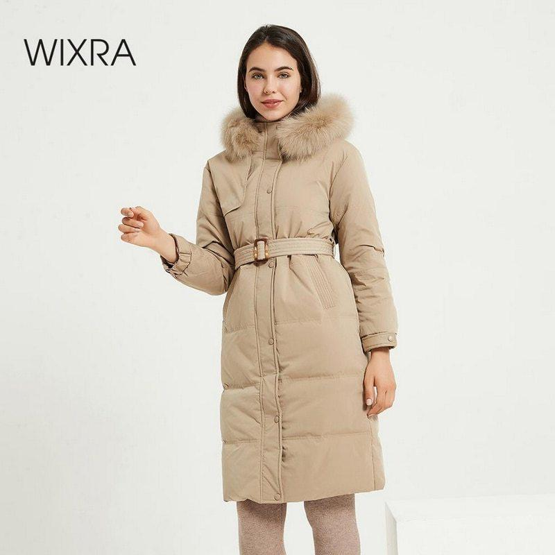 Wixra Winter Jacket With Belt Women's High Quality Down Coat Long Thick Ladies female Jackets Zip Fur Collar Outerwear LJ201128