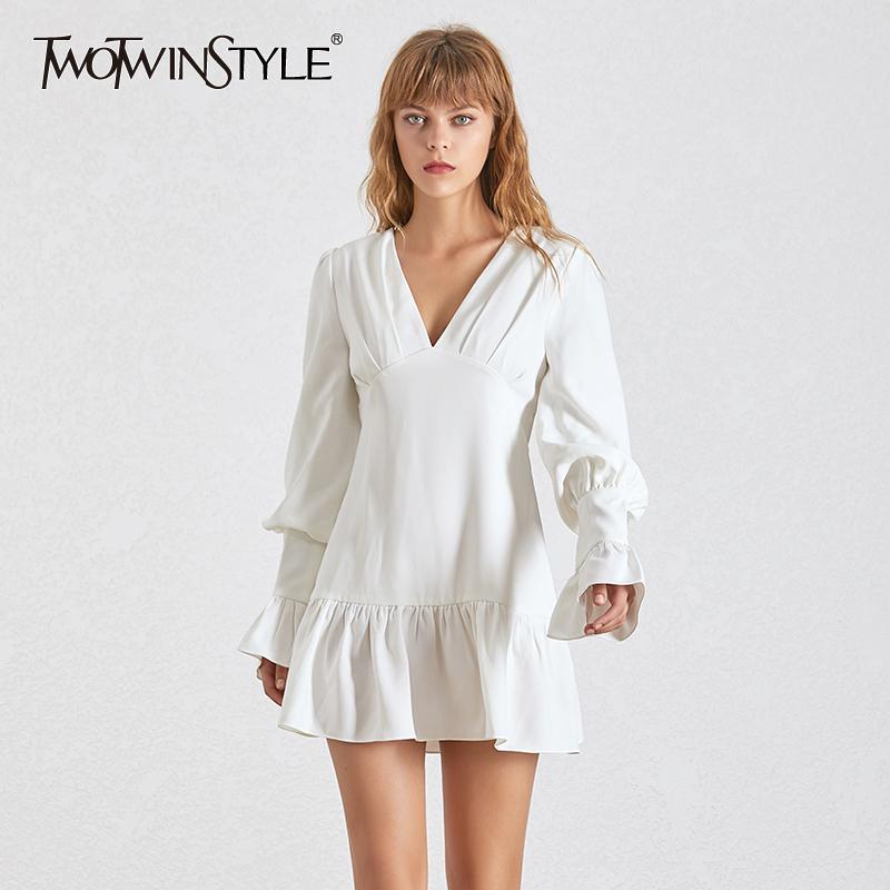 Twotwinstyle Zarif Ince Kadın Elbise V Boyun Fener Kollu Yüksek Bel Ruffles Mini Elbiseler Kadın Rahat Bahar 2019 Yeni T200107