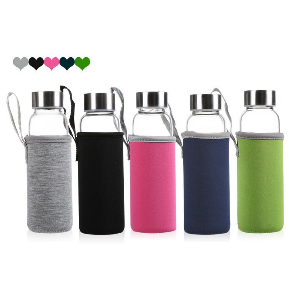 420ml 550ML زجاجة زجاج المياه BPA إنترنت عالي الحرارة مقاومة زجاجة زجاج المياه الرياضة مع تصفية الشاي المساعد على التحلل زجاجة نايلون كم