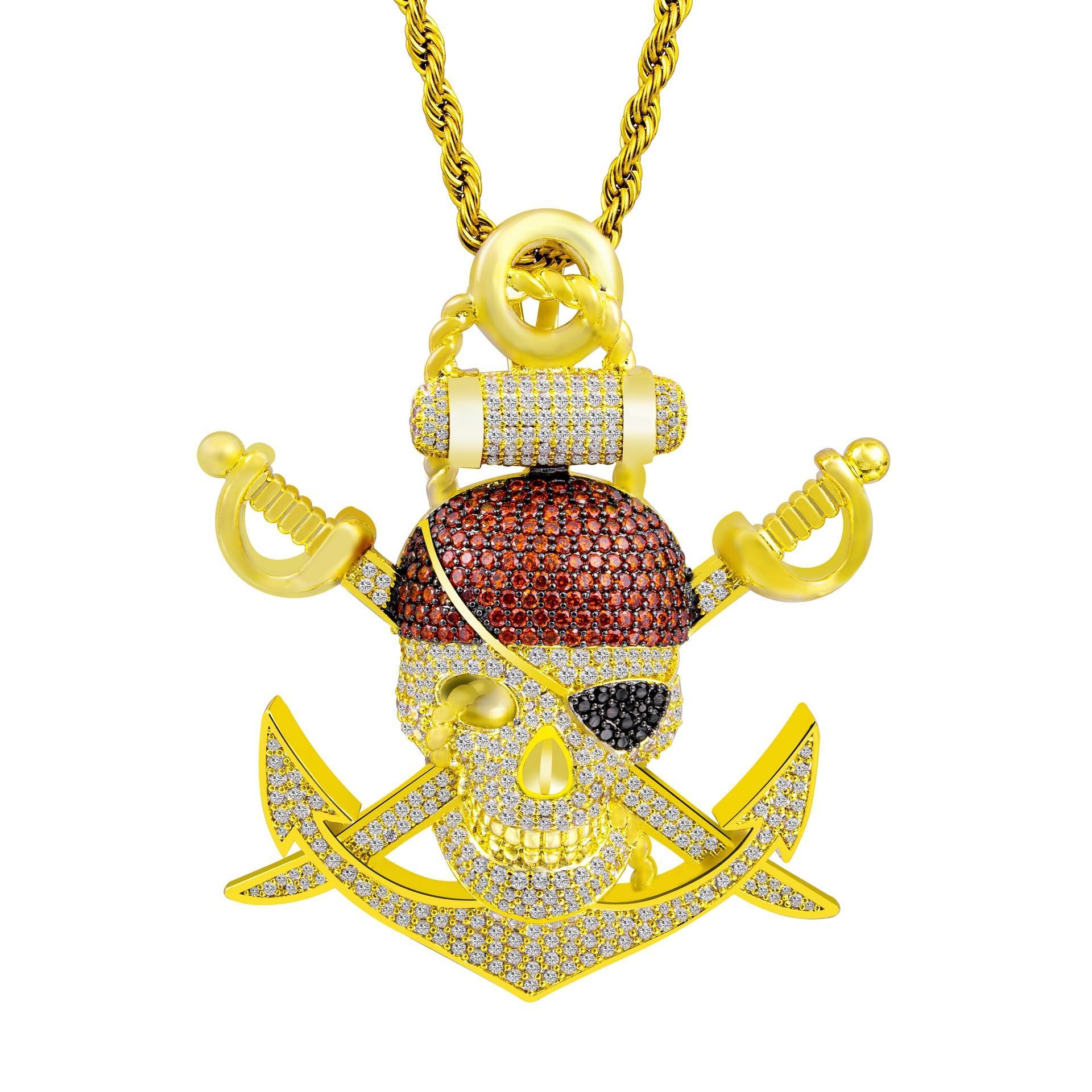 Qualitäts-Gold überzogen Bling CZ Schädel-Piraten-Anhänger Halskette mit Seil-Kette für Männer Frauen Hip Hop Schmuck