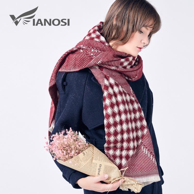 VIANOSI Moda Foulard Femme Marca bufandas Mujer 2020 do lenço do inverno Mulheres Lenços Wraps quente grossa Sjaal VA216
