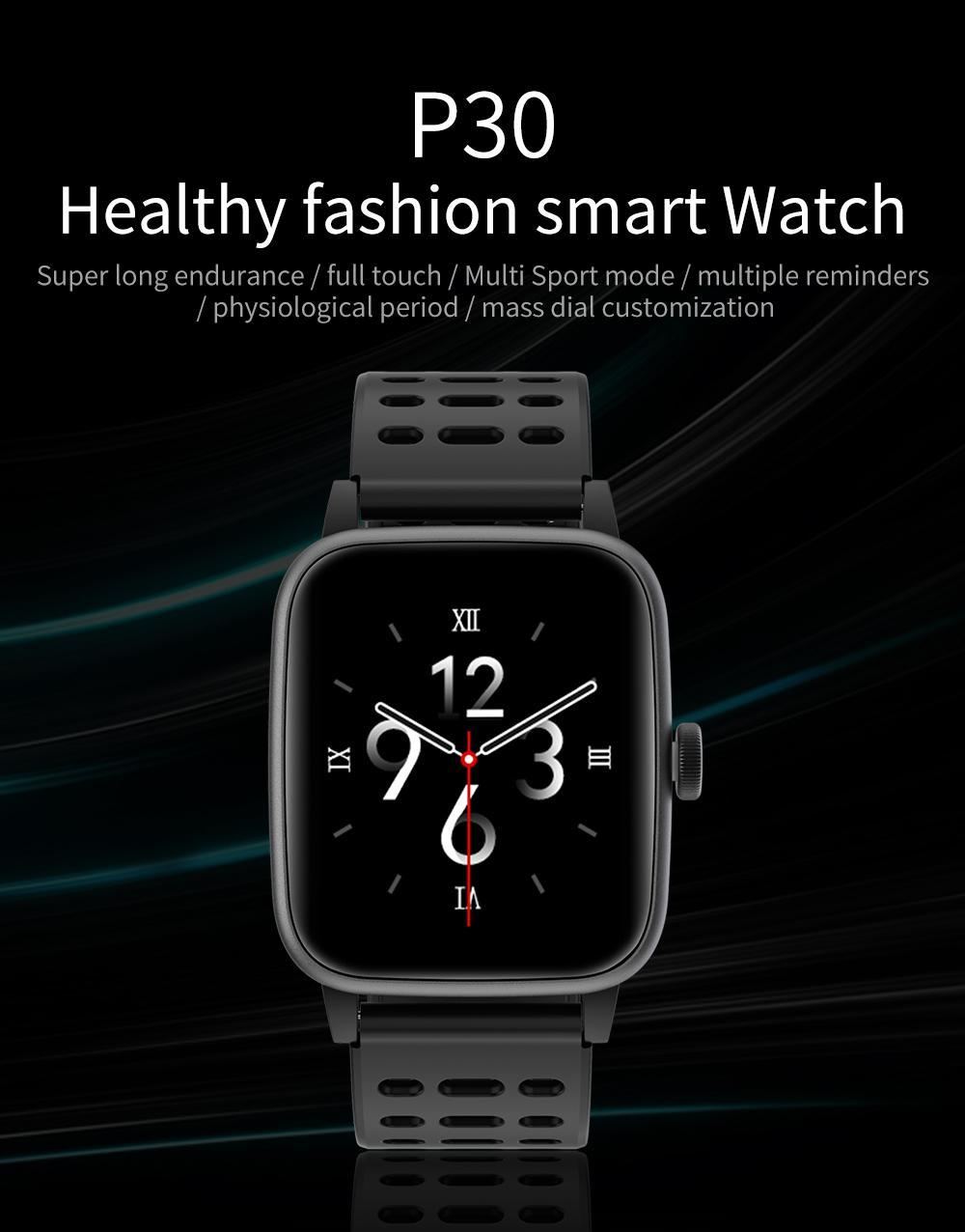 P30 Akıllı İzle DIY Yüzler Kalp Hızı Kan Basıncı IP68 Su Geçirmez Birden Çok Spor Modu Kadın Erkek Smartwatch