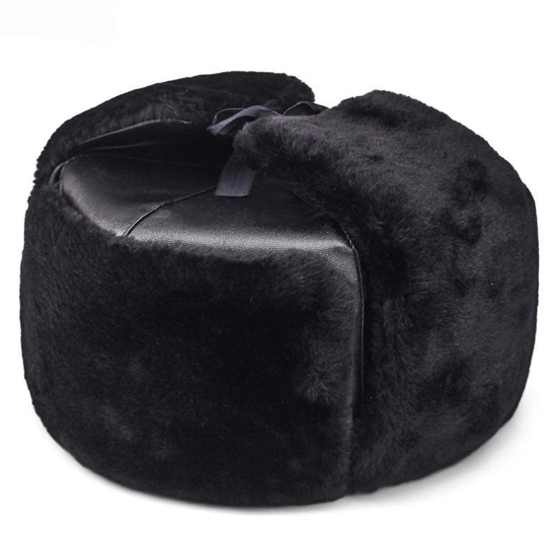 HT1891 Теплый толстый русская шляпа мужская армия военная кепка зима Ушанка бомбардировщик шляпа твердой кожи увлечения улавливания лыжные меховые шляпы для мужчин T200723