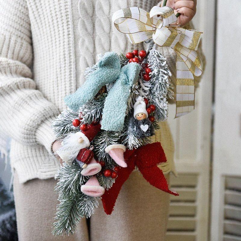 Nordic Weihnachtsstoff Anhänger Simulation Pflanzendekoration zu Hause Wohnzimmer Ferien Hand-entworfene hängende Verzierungen xV0C #