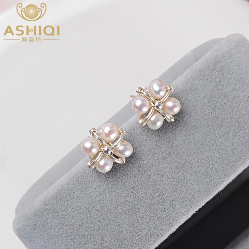 ASHIQI Natural Freshwater pearl stud earrings 925 Sterling Silver Handmade Earrings for women Unique gift