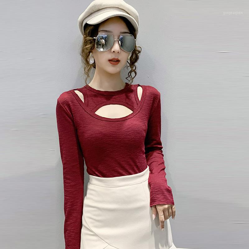Novo feminino t-shirt de manga comprida algodão t camisa senhora inverno top Tee escavando para fora tshirt casual t-shirts para mulheres1
