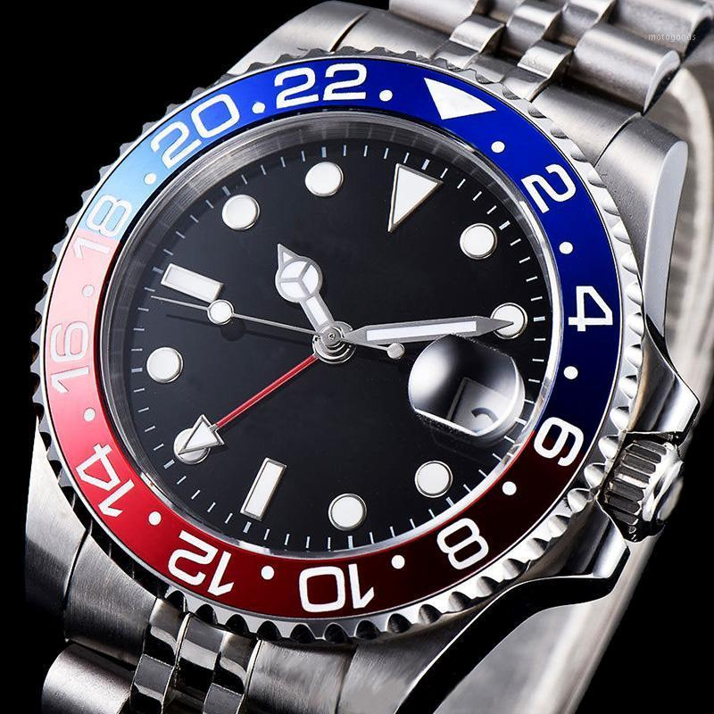 Wristwatches Watch Men Mechanical Watches GMT Sapphire Crystal Male Automatic 2021 Stainless Steel Case Ceramic Bezel Luminous1