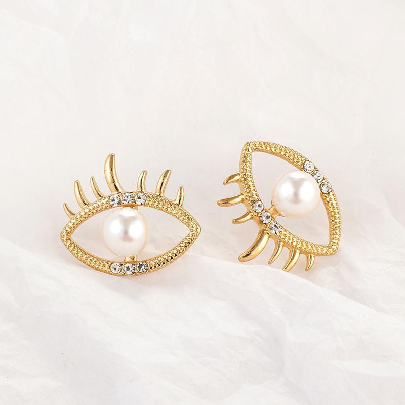 AMORCOME European And America Cute Eye Shape Stud Earrings For Women Rhinestone Imitation Pearl Eyes Pendiente Fashion Jewelry1