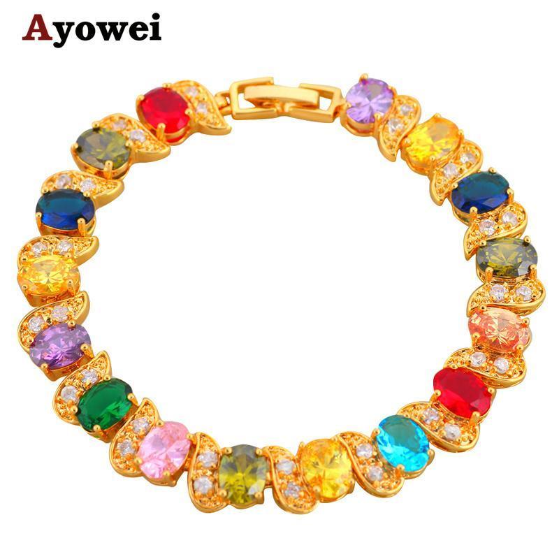 Hermosas pulseras de color dorado color cristal diseño zircon salud níquel plomo libre moda joyería tb395a