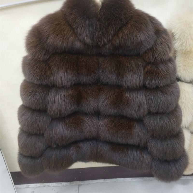 Натуральная лисица меховая пальто Настоящий Fox Mur короткая куртка зима мода теплый повседневная европейская женщина уличный стиль LJ201130