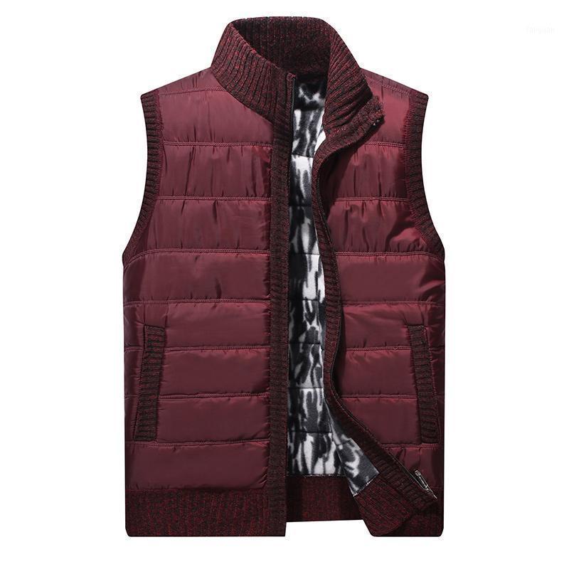Jaqueta Mens sem mangas colete de malha cardaigan camisola homens inverno velo sólido retalhos colete para homem colete casacos homme 20201