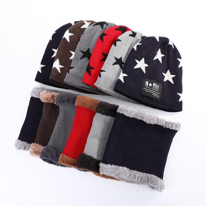 ESTRURA CALDA PELUCCIO PELLE AUTOMATICO E INVERNO BAOTOU Collare coreano moda pentagramma maglia cappello