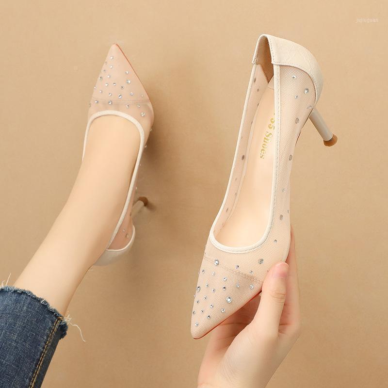Frauen Pumps Mesh Slip auf 7,5 cm Dünne Fersen High Heels Spitz Rhinestones Bling Shallow Hohe Frauen Schuhe Größe 35-421